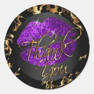 Purple Glitter Lipstick - Thank You Round Sticker
