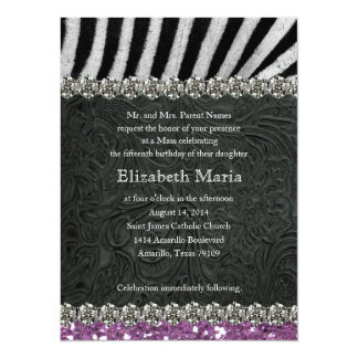 Purple Glitter Look Black Zebra Quinceanera 14 Cm X 19 Cm Invitation Card