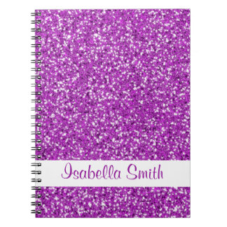 Purple Glitter Look-like And Name Spiral Notebook