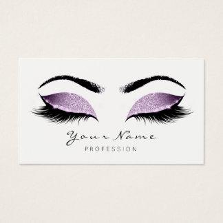 Purple Glitter Makeup Beauty Lashes Studio SPA Business Card