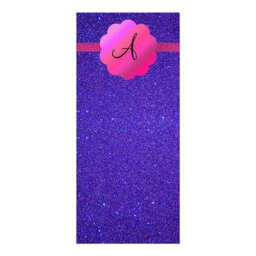Purple glitter monogram rack card design