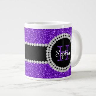 Purple Glitter Monogrammed Jumbo Coffee Mug Jumbo Mug