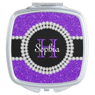Purple Glitter Monogrammed Square Compact Mirror