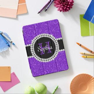 Purple Glitter Monogrammed Tough iPad Air Case iPad Air Cover