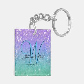 Purple Glitter Patio Lantern Confetti Glam Blue Double-Sided Square Acrylic Key Ring