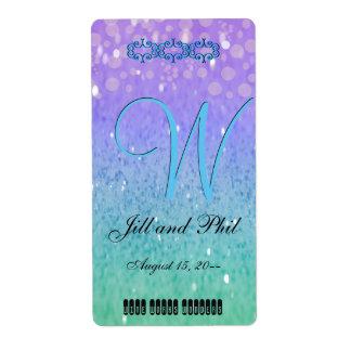 Purple Glitter Patio Lantern Confetti Glam Blue Shipping Label