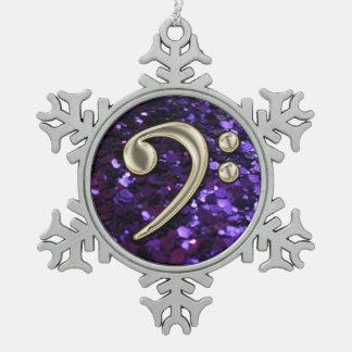 Purple Glitter Pearl Bass Clef Christmas Snowflake Snowflake Pewter Christmas Ornament