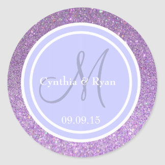 Purple Glitter & Periwinkle Wedding Monogram Classic Round Sticker
