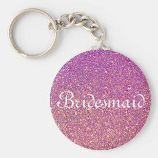 Purple Glitter Personalized Bridesmaid Basic Round Button Key Ring