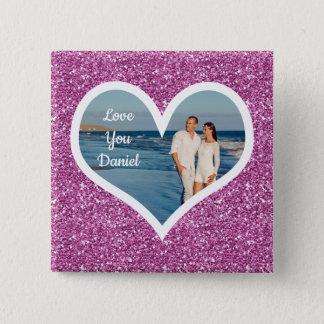 Purple Glitter Photo Heart 15 Cm Square Badge
