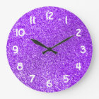 Purple Glitter Photo Large Clock