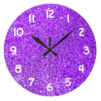 Purple Glitter Photo Large Clock