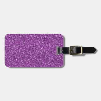 Purple Glitter Print Luggage Tag