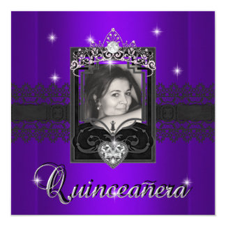 Purple Glitter Quinceanera 15th Birthday Party Card