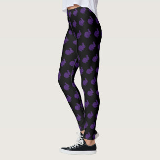 Purple Glitter Silhouette Bunny Rabbit Leggings