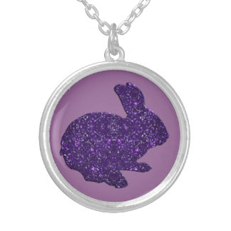 Purple Glitter Silhouette Easter Bunny Necklace