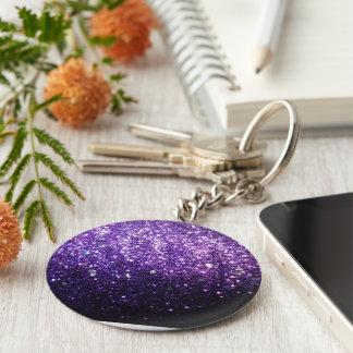 purple glitter sparkle glow shine happy basic round button keychain