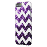 Purple glitter sparkles and White Chevron iPhone 6 Barely There iPhone 6 Case