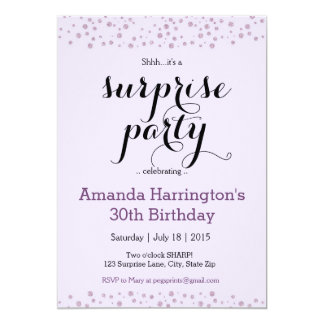 Purple Glitter Surprise Birthday Party Invitations