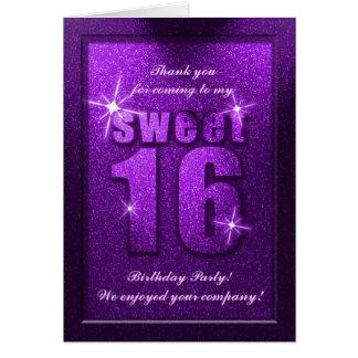 Purple Glitter Sweet 16 Birthday Thank You Card