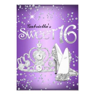Purple Glitter Tiara & Heels Sweet 16 Invite