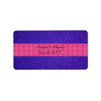 Purple glitter wedding favors address label