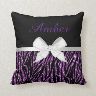 Purple Glitter Zebra Print and Ribbon Cushion
