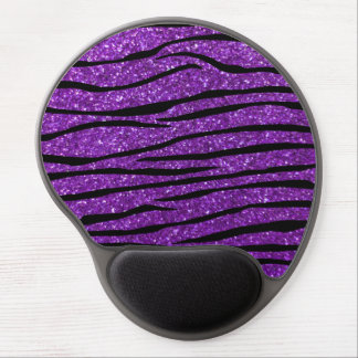 Purple glitter zebra stripes gel mouse pad