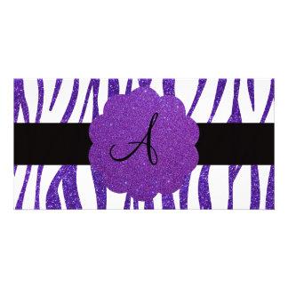 Purple glitter zebra stripes monogram personalized photo card