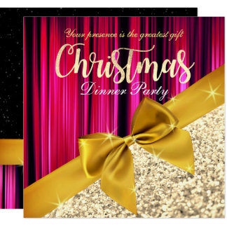 Purple Glittery Christmas Dinner Invitation