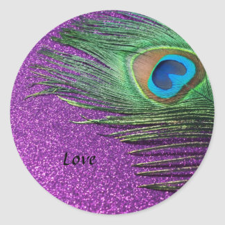 Purple Glittery Peacock Feather Still Life Classic Round Sticker