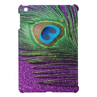 Purple Glittery Peacock Feather Still Life Case For The iPad Mini