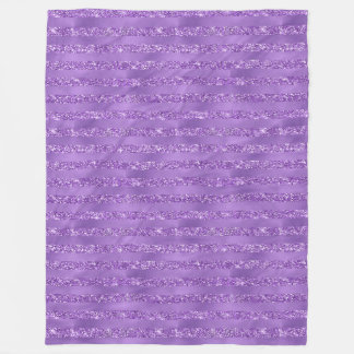 Purple Glittery Stripes Fleece Blanket