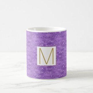 Purple Glittery Stripes Monogram Coffee Mug