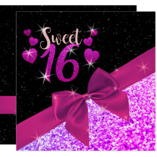 Purple Glittery Sweet 16 Square Invite
