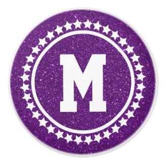 Purple Glitz Super Star Monogram Ceramic Knob