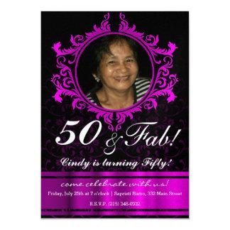 Purple Glossy Damask Pattern Invitation Card 50th