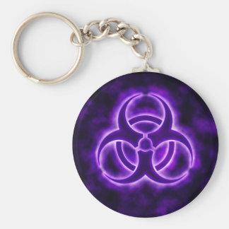 Purple Glow Biohazard Symbol Keychain
