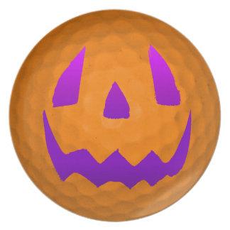Purple Glow Halloween Golf Ball Plate