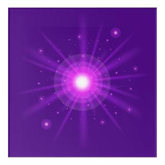 Purple glow light effect on violet background acrylic print