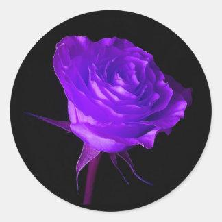 """""""Purple Glow"""" Rose Round Sticker"""
