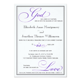 Purple God is Love Christian Wedding Invitation