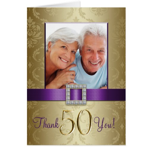 Purple Gold 50th Wedding Anniversary Thank You Cards