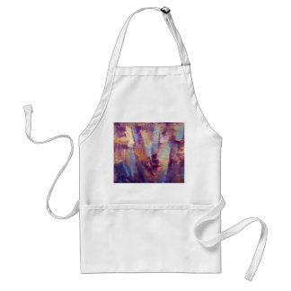 Purple Gold Abstract Oil Painting Metallic Aprons