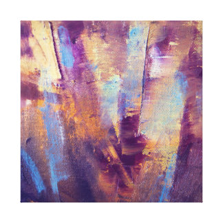 Purple Gold Abstract Oil Painting Metallic Stretched Canvas Print