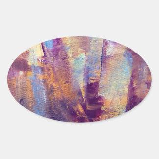 Purple & Gold Abstract Oil Painting Metallic Sticker
