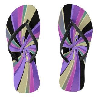 Purple Gold and Black Music Clef Swirl Flip Flops Thongs