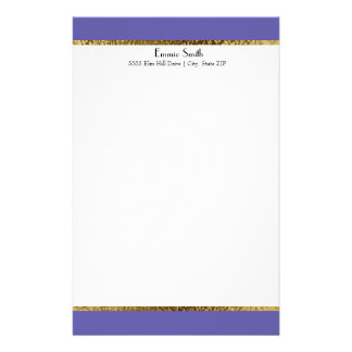 Purple Gold and White Personalized Stationery