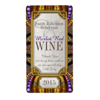 Purple Gold Bohemian Magic Drink Bottle Labels
