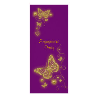 Purple gold butterfly elegant personalized invite